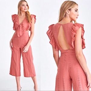 Pants - NEW! Ruffle Sleeve Open Back Cropped Jumpsuit